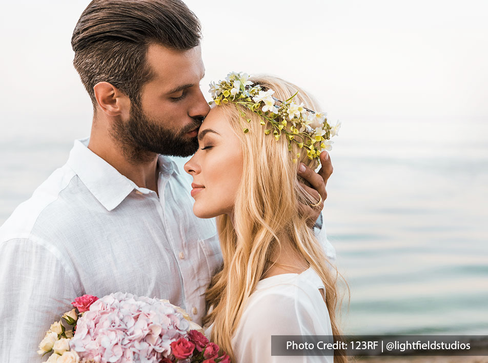 Magical moment on your wedding day by the romantic beach of Malaysia