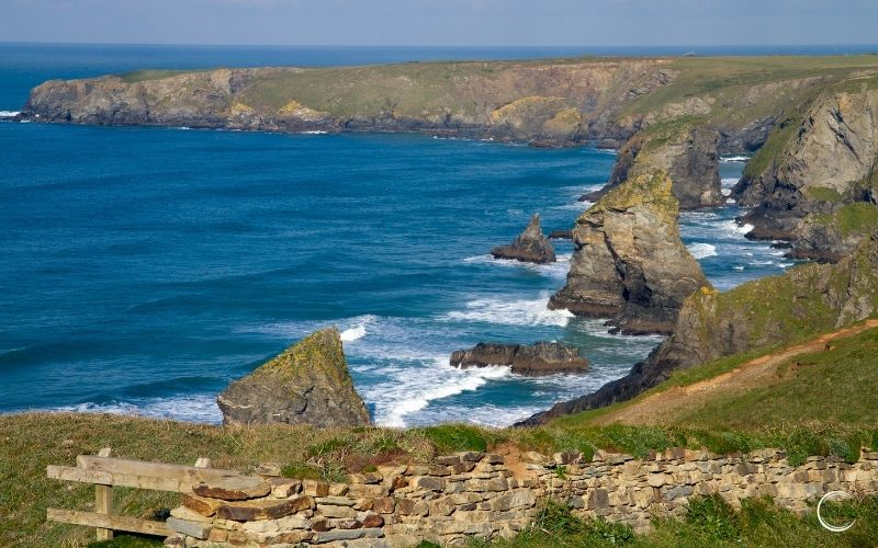 Cornwall coast path blue sea