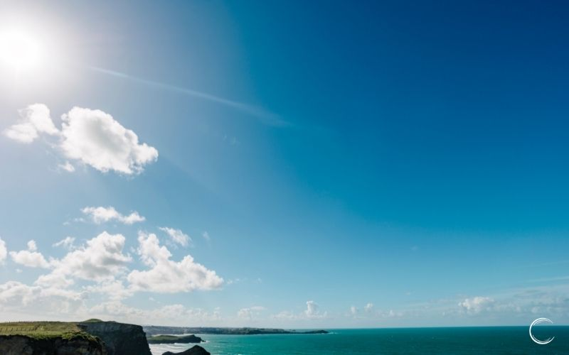 blue sky and sunshine in Cornwall