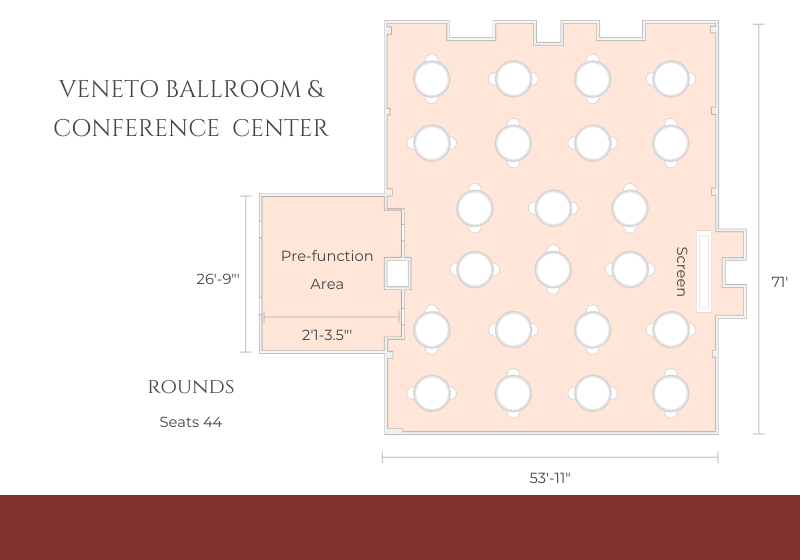 ballroom layout with round tables