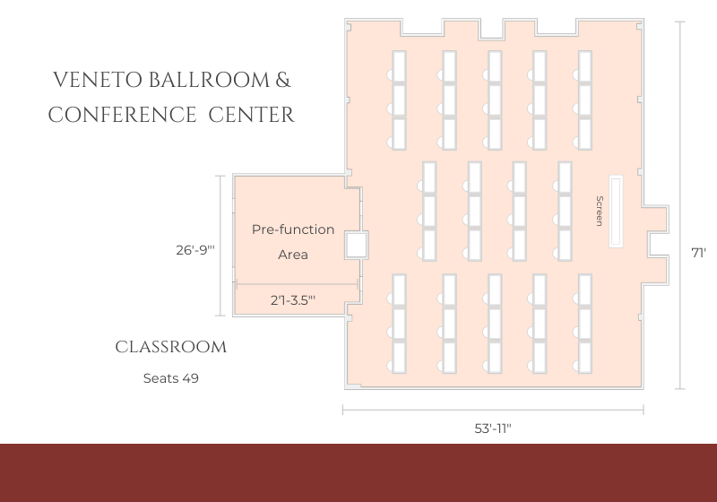 ballroom layout for classroom/conference