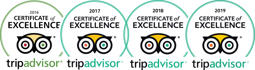 Trip Advisor Certificate of Excellence 2016, 2017, 2018, and 2019