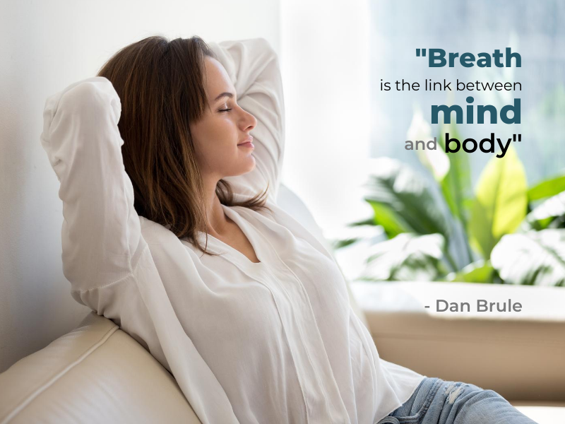 woman relaxing with deep breaths