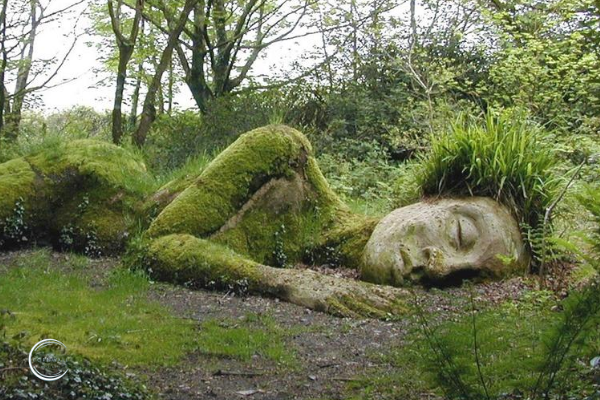 sleeping lady at Lost Gardens of Heligan