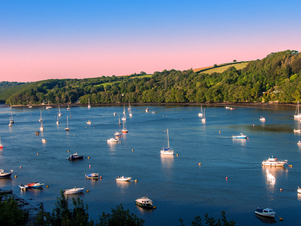pleasure boats on the Rivery Fowey in Cornwall