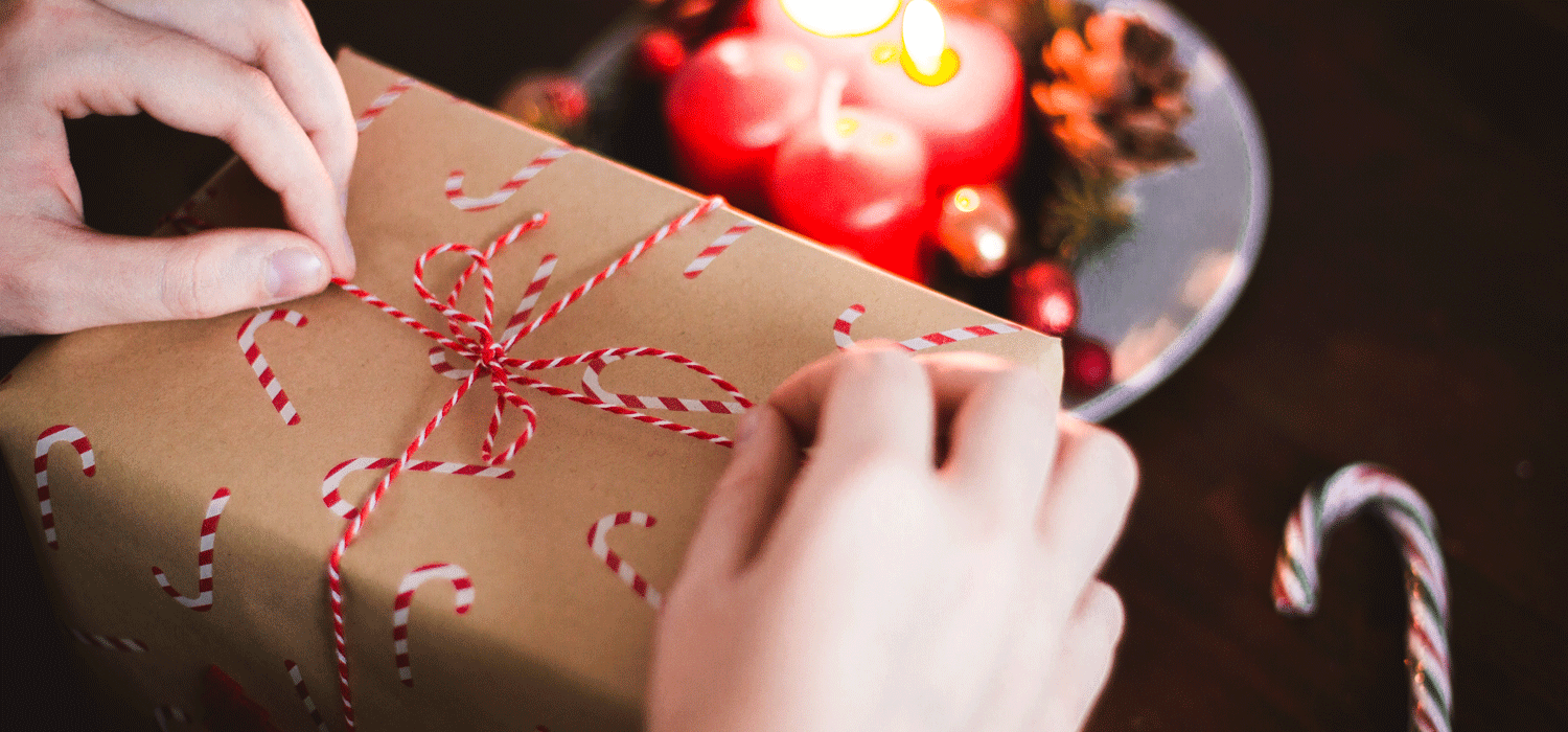christmas gift wrapping with candycanes
