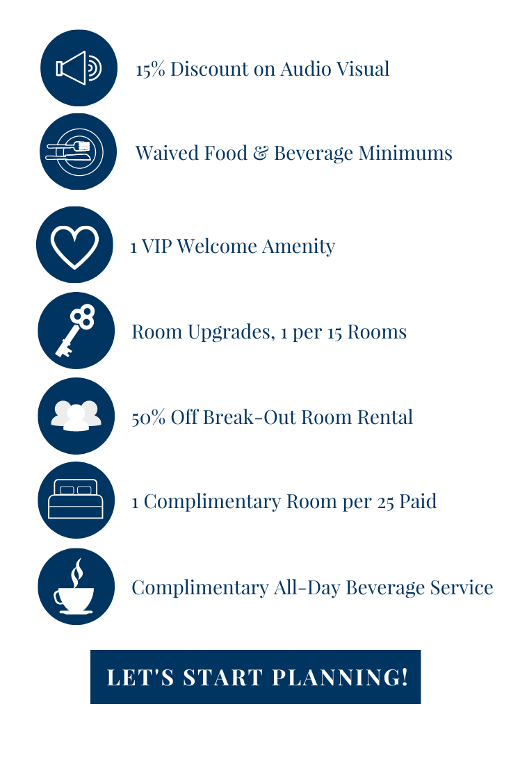 Concession options: 15% discount on AV, waived F&B min, overnight site visit, 1 vip welcome amenity, room upgrades 1 per 15, 50% off break out space, 1 comp room per 25 paid, or comp all day beverage service. Click for a proposal.